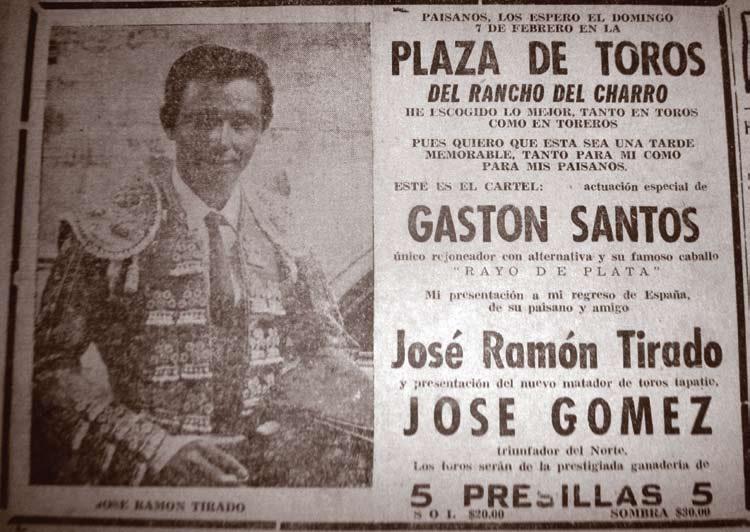 «El Ciclón Mazatleco» en la temporada de toros de 1960 en el lienzo Rancho del Charro de Mazatlán.