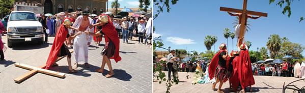 Viacrucis viviente en la semana santa en Mocorito